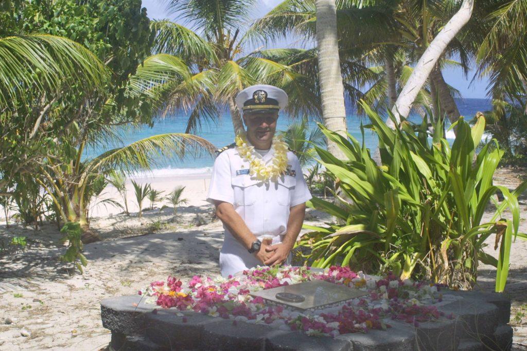 Lt. Cmdr. Carter at memorial on Mangejang Island, Ulithi