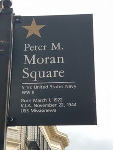 Sign with Peter Moran's name on it.
