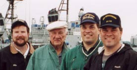 (L-R) Mike Mair & Ray, Ron, and Bob Fulleman, USS Lackawanna, AO-40 Reunion - Seattle, WA - 2000